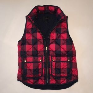 J. Crew Red and Navy Buffalo Plaid Excursion Vest